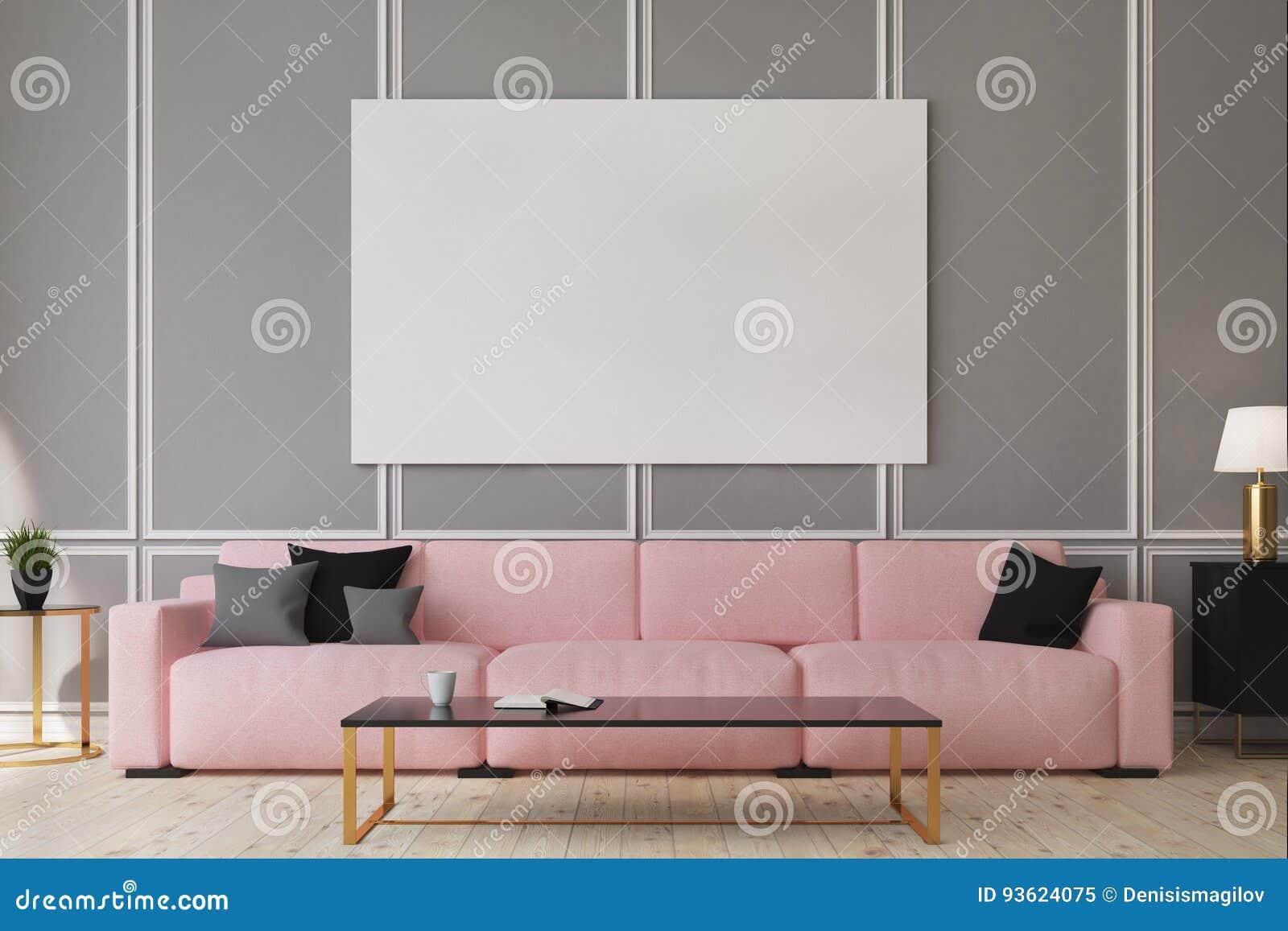 Salon Rose De Sofa, Affiche Illustration Stock - Illustration du ...