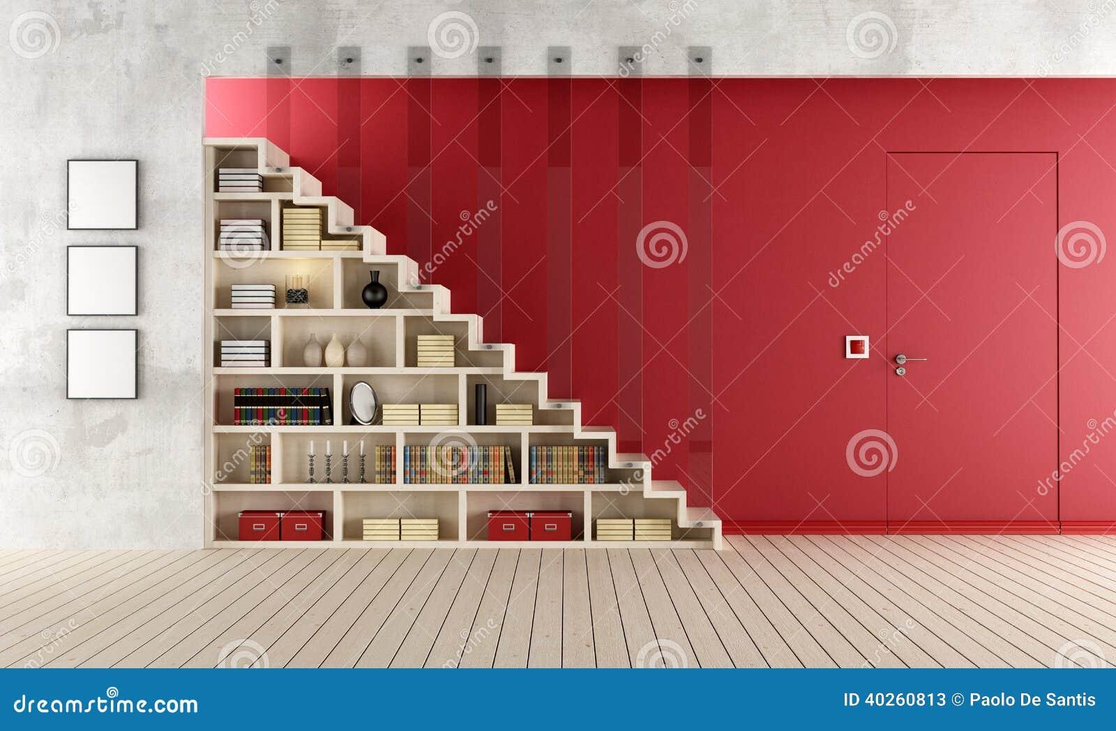 Salon rouge avec l 39 escalier et la biblioth que en bois for Salon avec bibliotheque