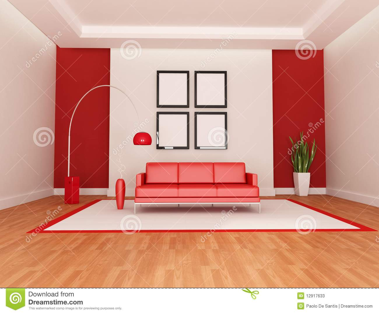 salon rouge et blanc illustration stock image du lampe 12917633. Black Bedroom Furniture Sets. Home Design Ideas