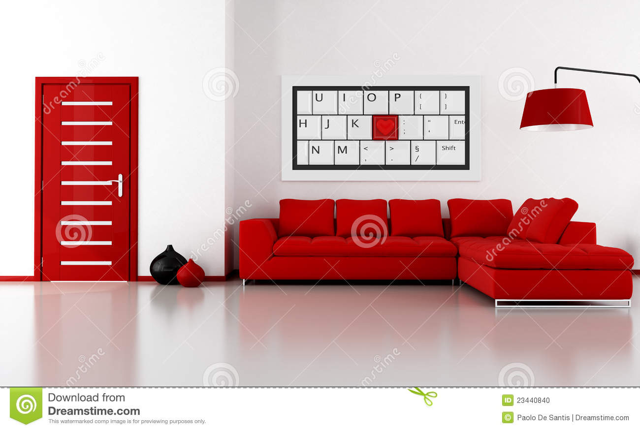 salon rouge et blanc photo stock image 23440840. Black Bedroom Furniture Sets. Home Design Ideas