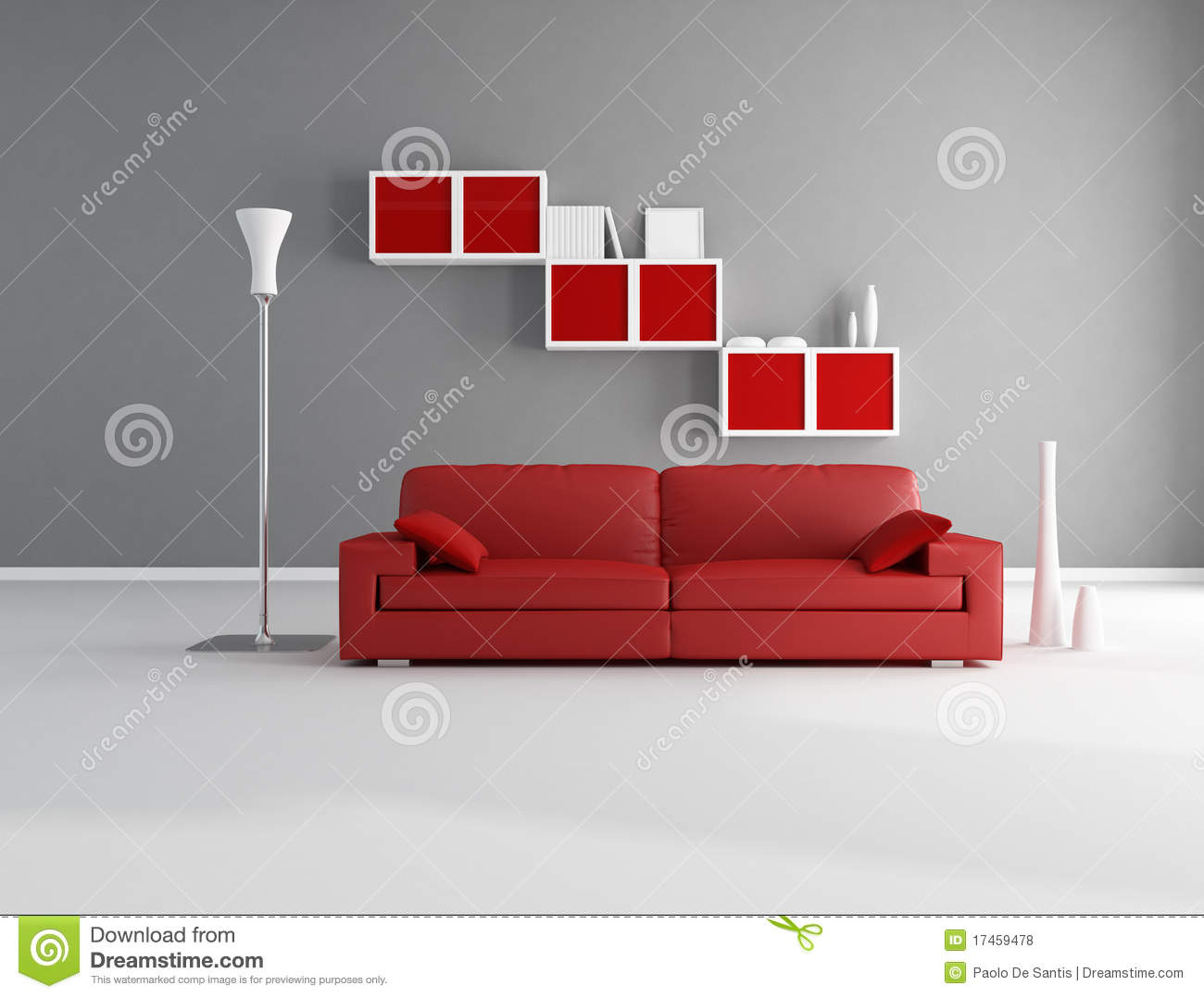 salon rouge et gris photos libres de droits image 17459478. Black Bedroom Furniture Sets. Home Design Ideas