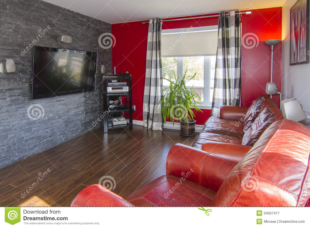 Photographie stock libre de droits red and grey living - Salon rouge et gris ...