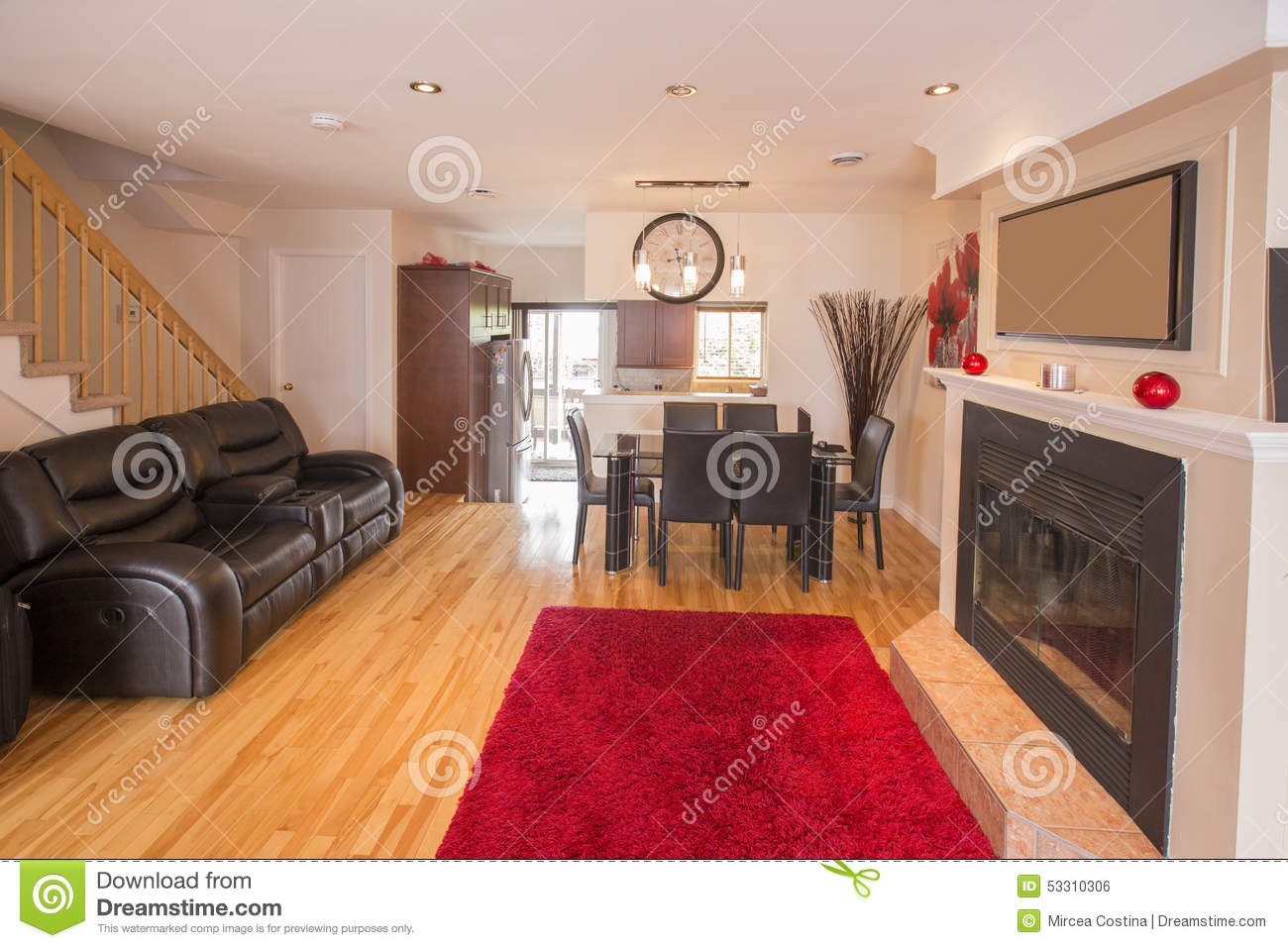 Salon Rouge Et Gris Photo Stock Image 53310306