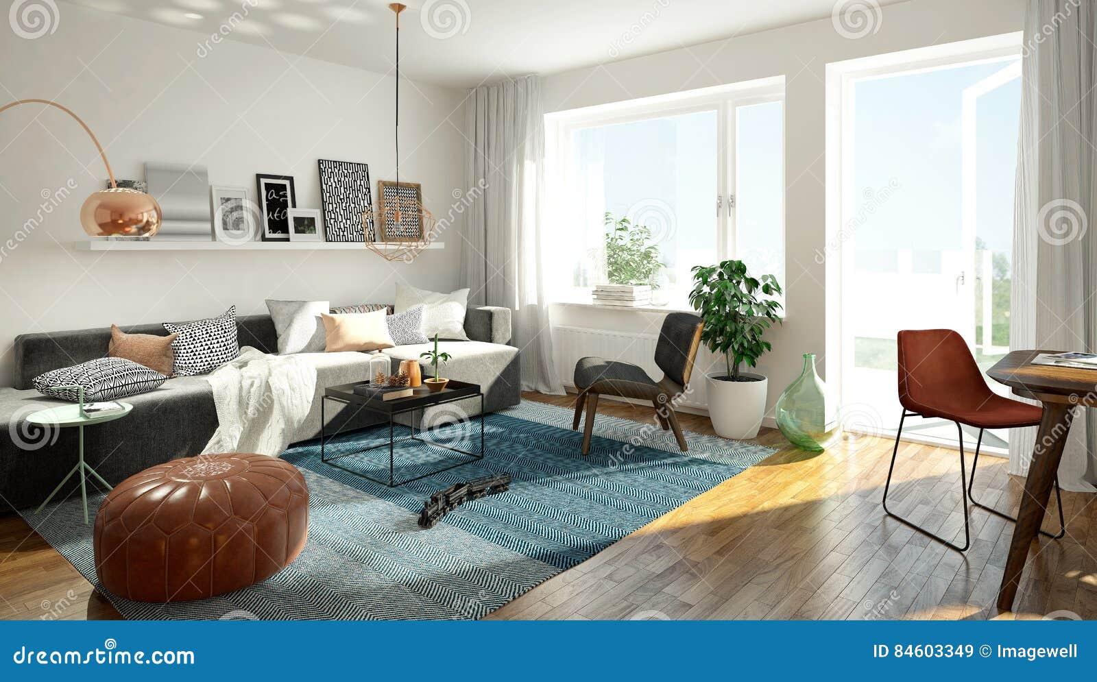 Salon scandinave illustration stock. Illustration du balcon - 84603349