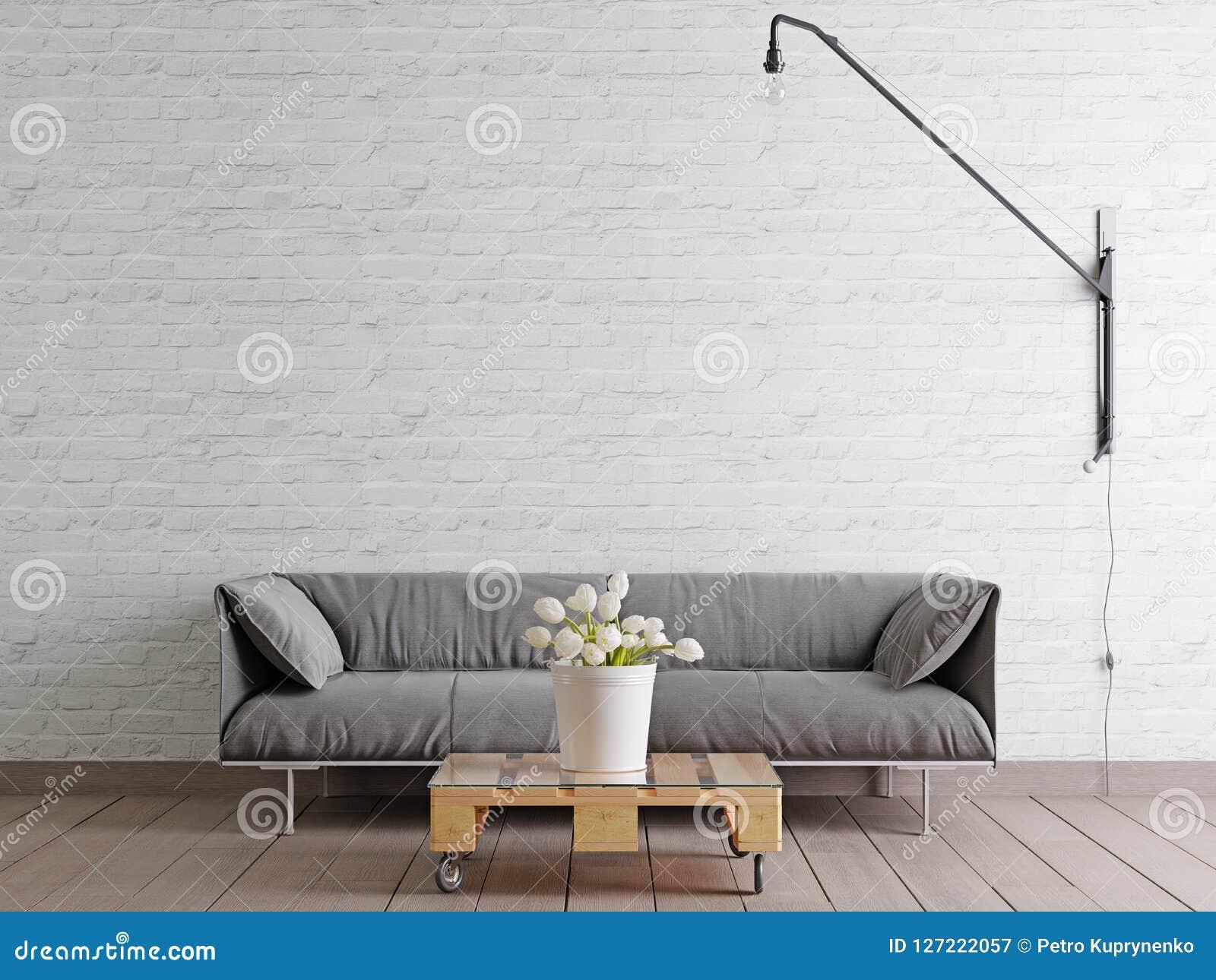 Salon Scandinave De Style Avec Le Sofa, La Lampe Et L\'usine ...