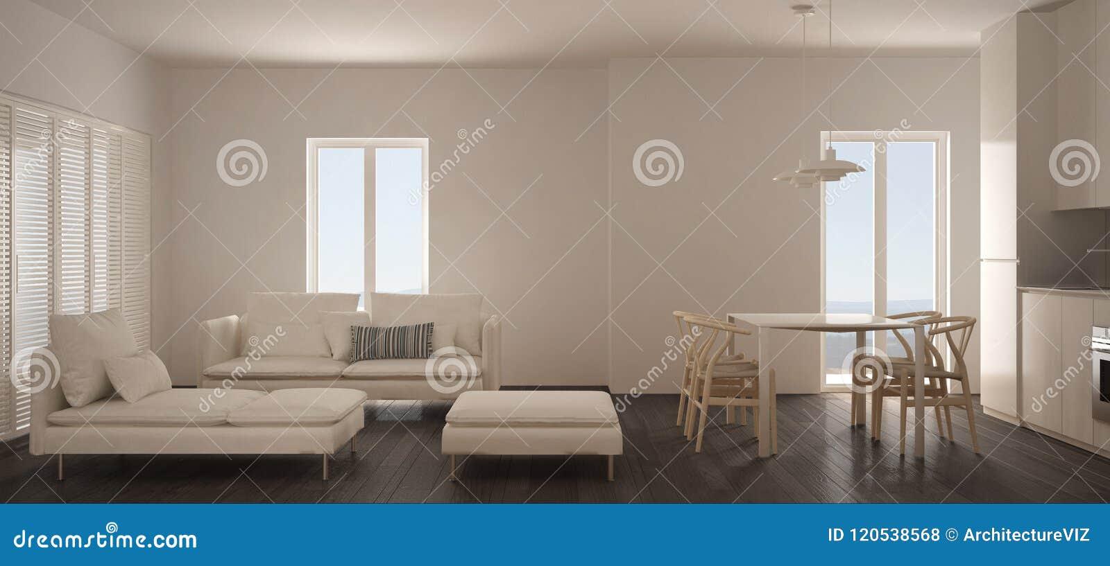 La Chaise Longue Billard salon scandinave minimaliste avec la cuisine et la table de