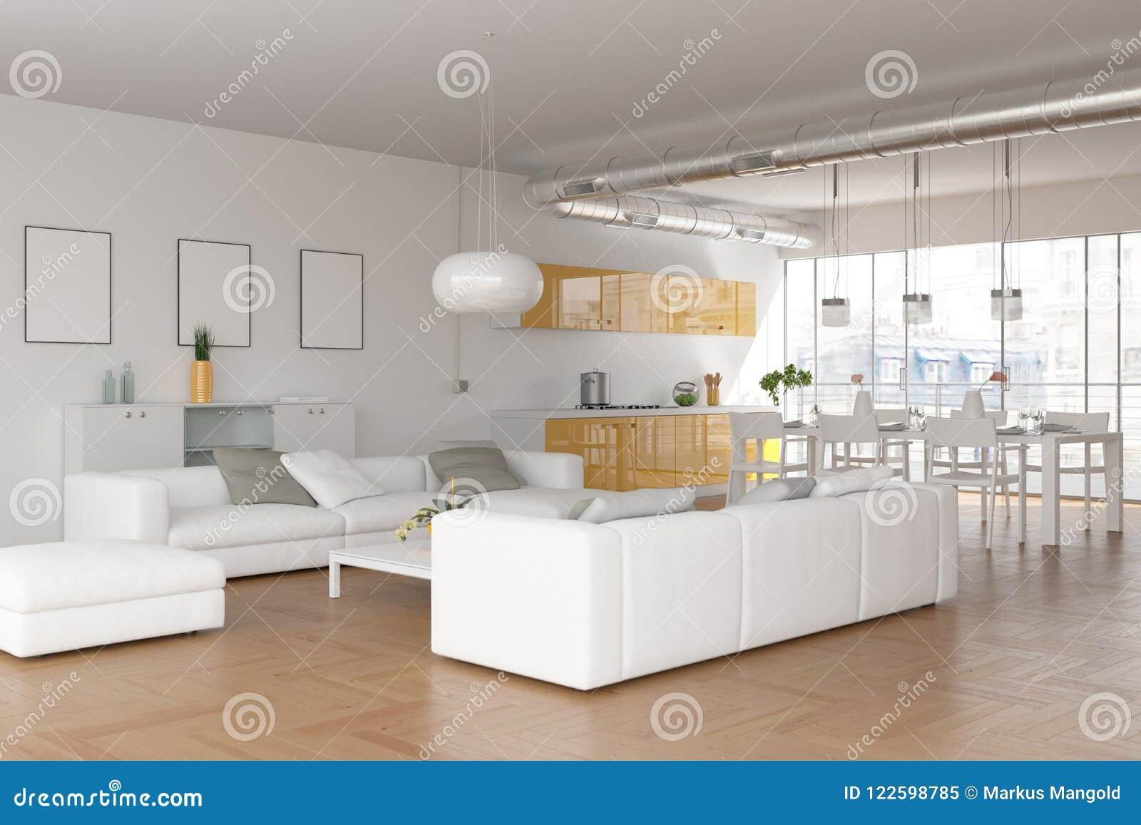 Salon skandinavian lumineux moderne de conception intérieure
