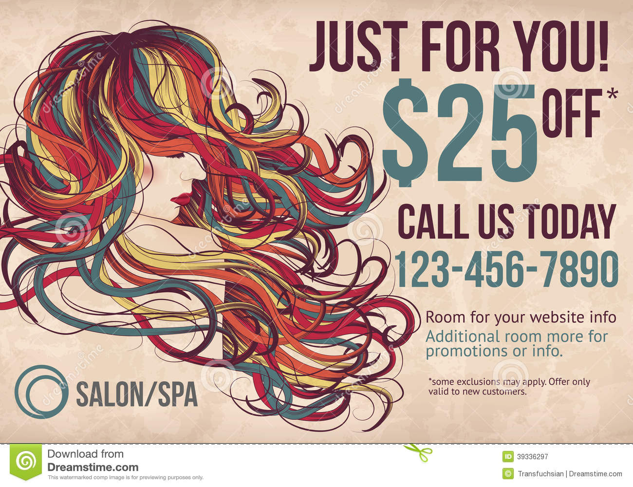 salon spa postcard template with coupon stock vector