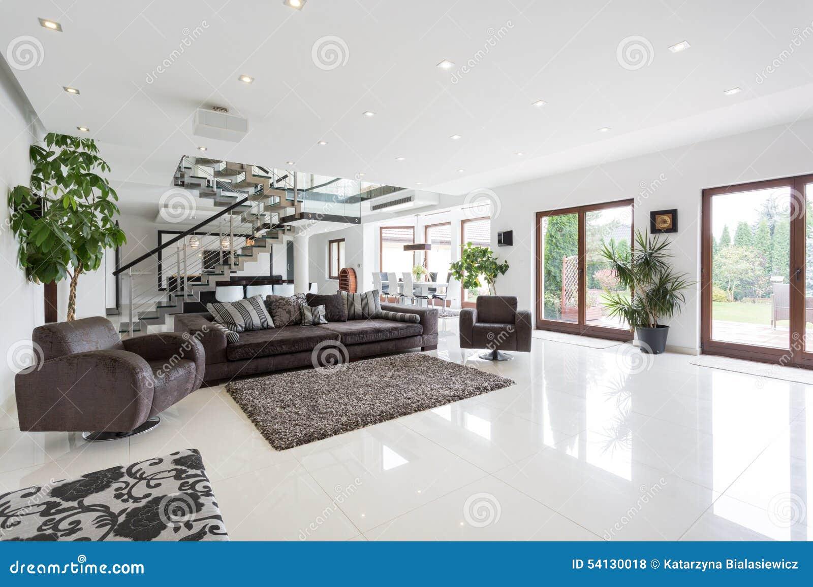 Salon spacieux avec l 39 escalier photo stock image 54130018 for Amenagement salon avec escalier