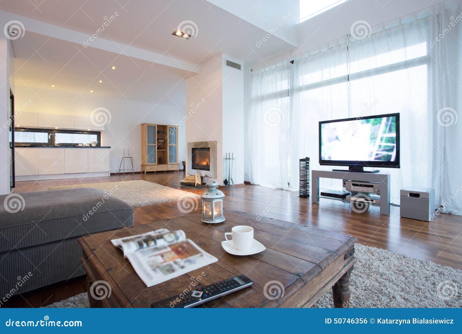 salon spacieux et lumineux avec la tv photo stock image. Black Bedroom Furniture Sets. Home Design Ideas