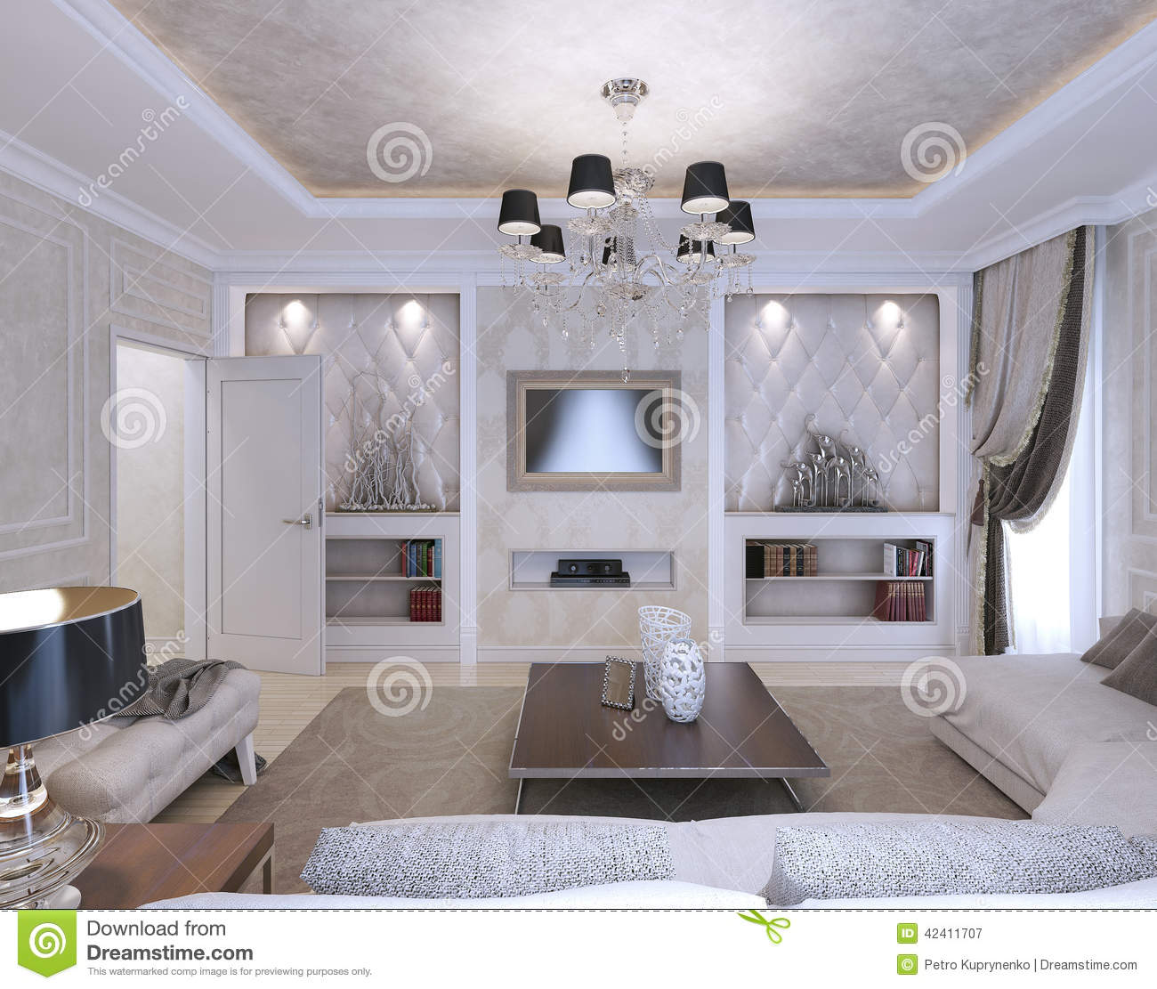 salon style d 39 art d co style classique illustration stock image 42411707. Black Bedroom Furniture Sets. Home Design Ideas
