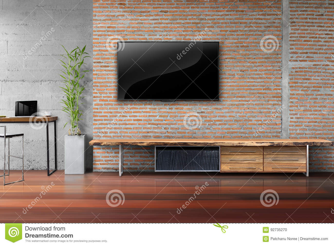salon tv sur le mur de briques rouge avec la table en bois photo stock image du vide d cor. Black Bedroom Furniture Sets. Home Design Ideas