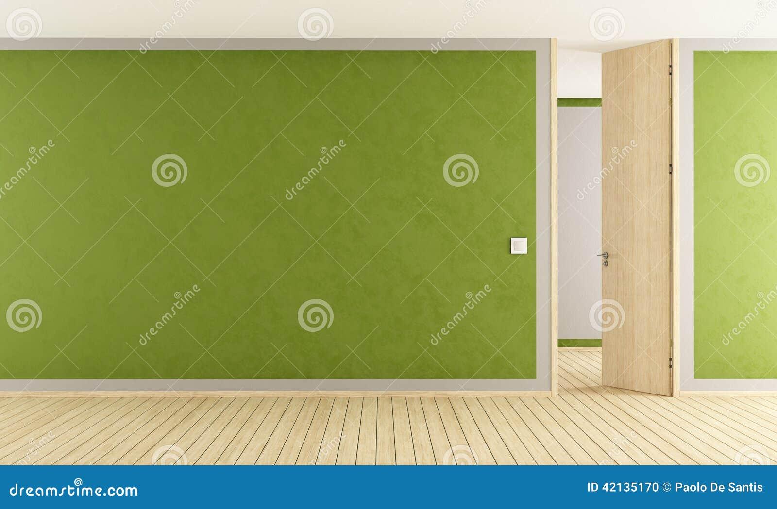 Salon vert avec la porte ouverte illustration stock for La porte de salon