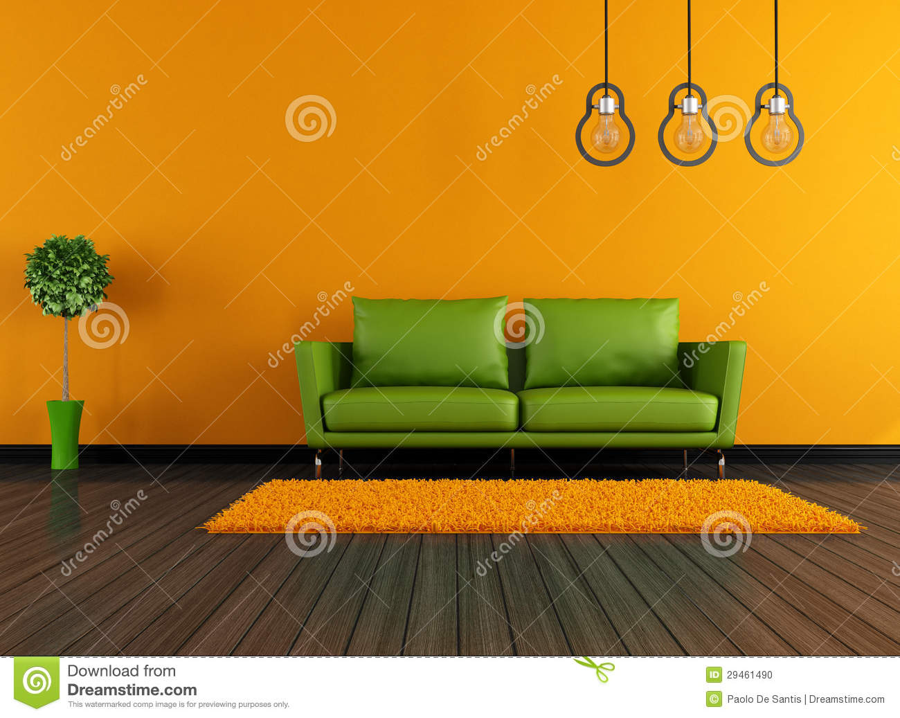 Salon Vert Et Orange Moderne Illustration Stock - Illustration du ...