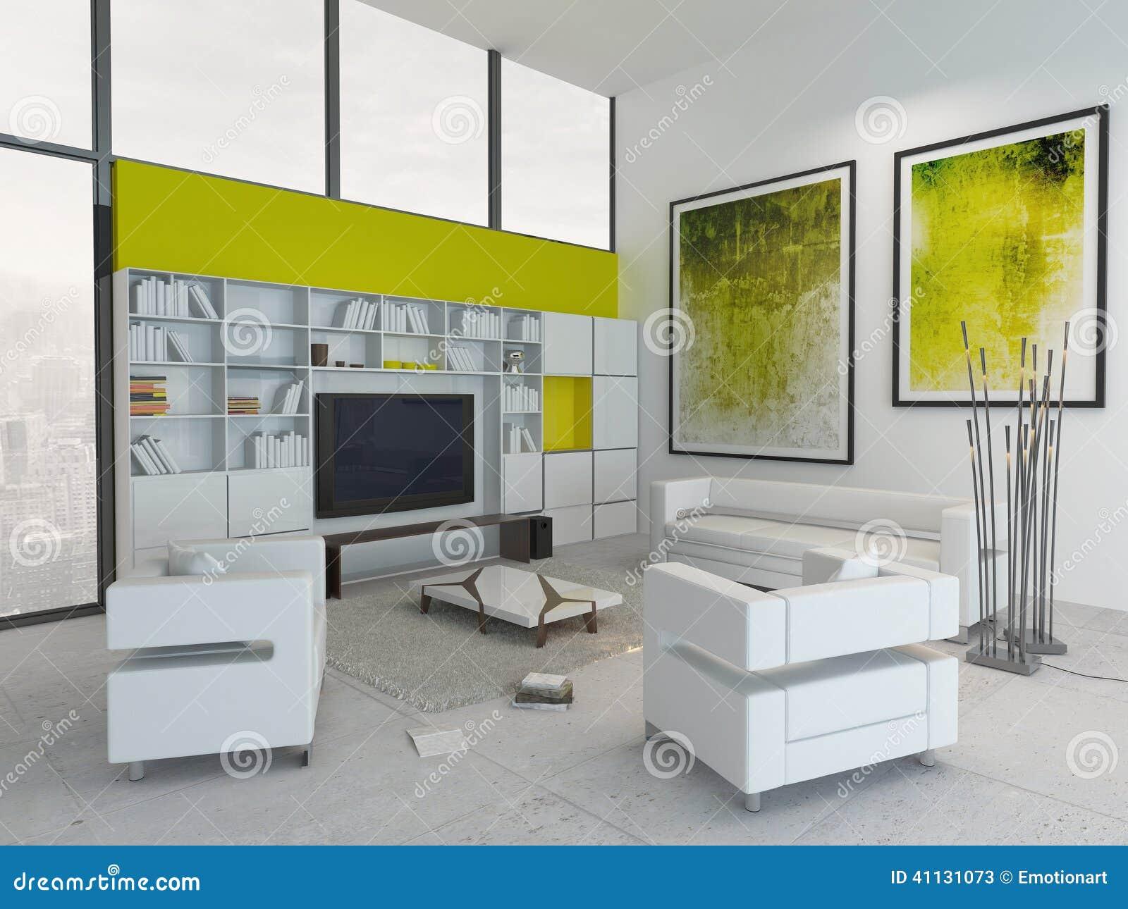 Salon Vert Et Par Blanc Coloré Moderne Intérieur Illustration Stock ...