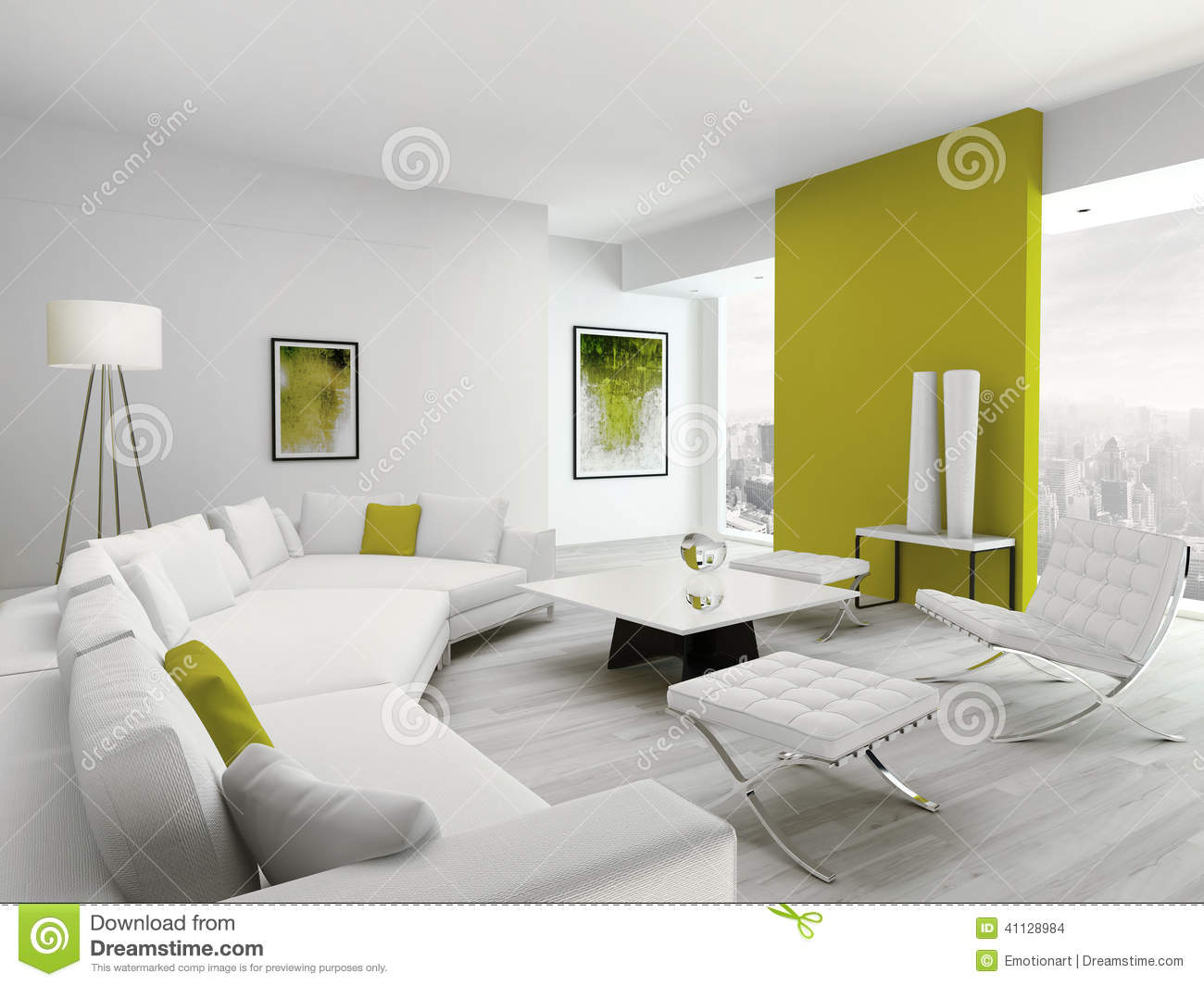 Salon vert et par blanc color moderne int rieur for Salon moderne blanc