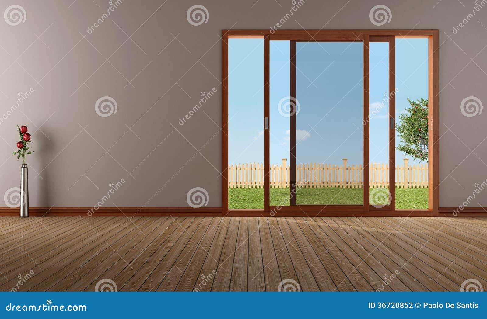 salon vide avec la fen tre de glissement ouverte photographie stock image 36720852. Black Bedroom Furniture Sets. Home Design Ideas