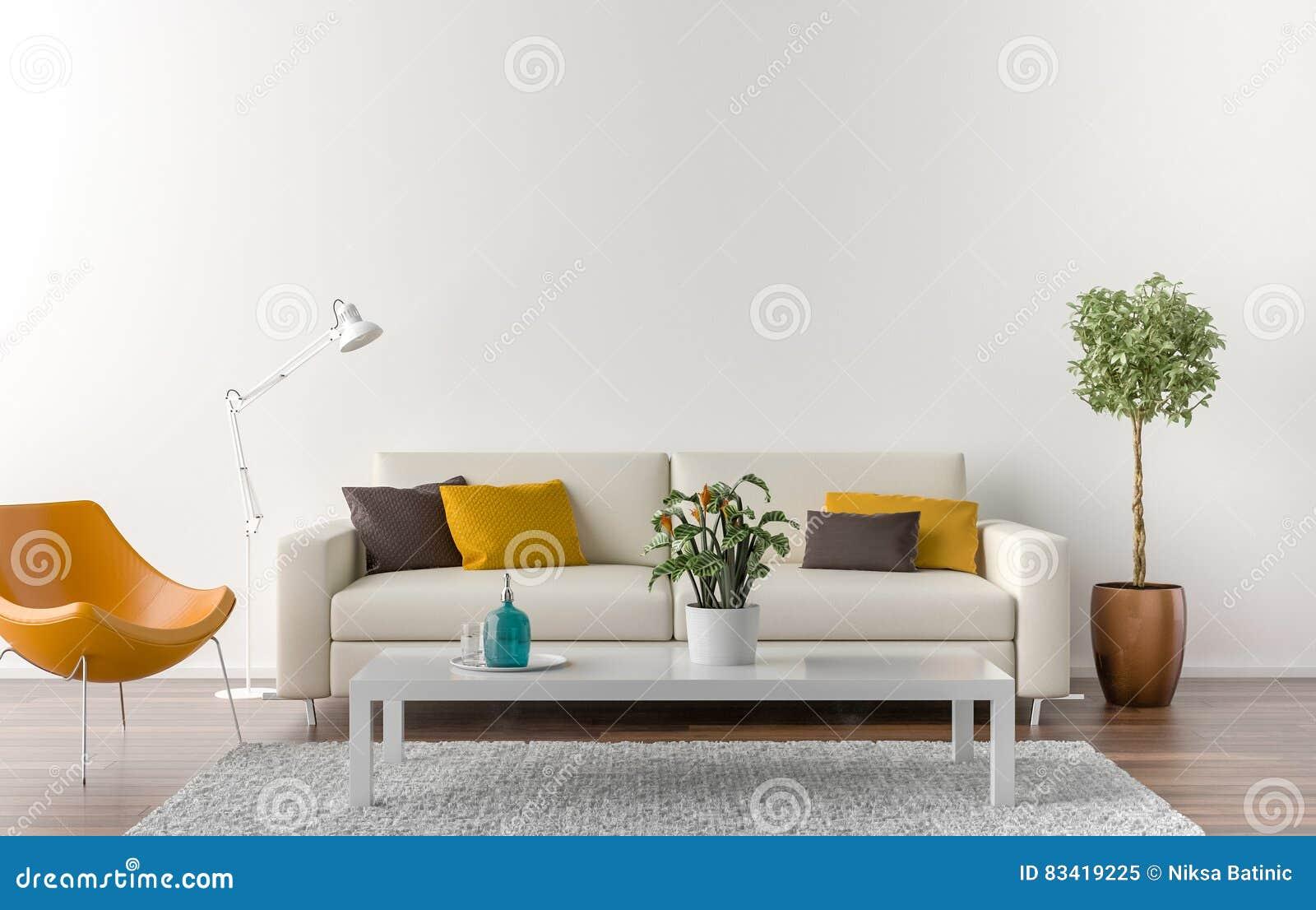 Salon vide avec le mur blanc l 39 arri re plan illustration for Salon mur blanc