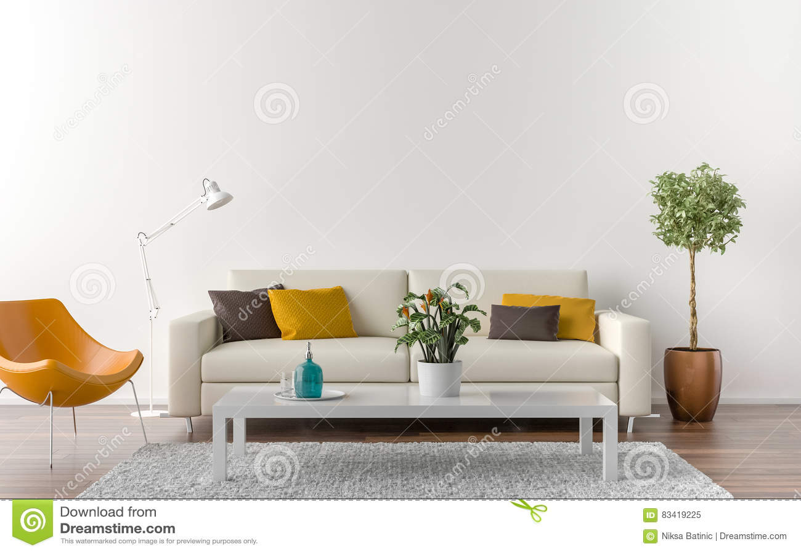 salon vide avec le mur blanc l 39 arri re plan illustration stock image 83419225. Black Bedroom Furniture Sets. Home Design Ideas