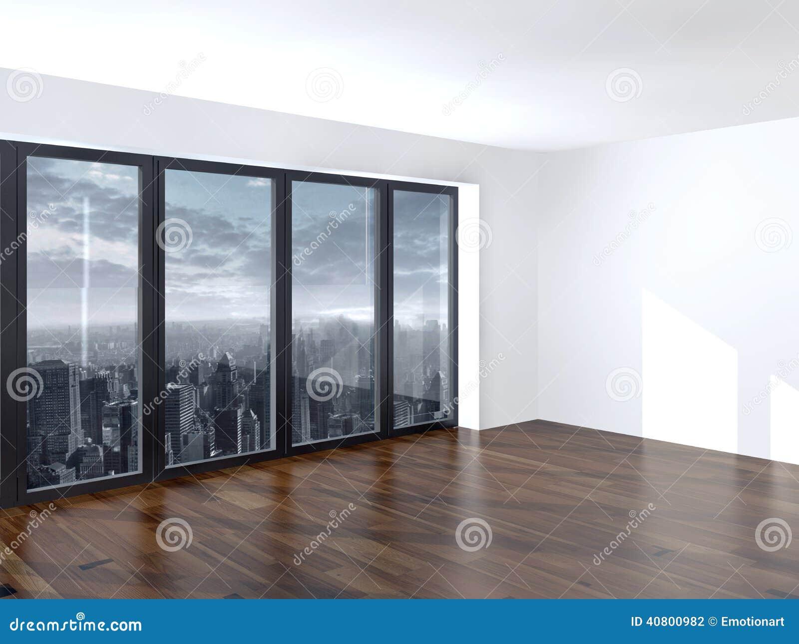Salon vide d 39 appartement avec une fen tre de vue for Salon d appartement