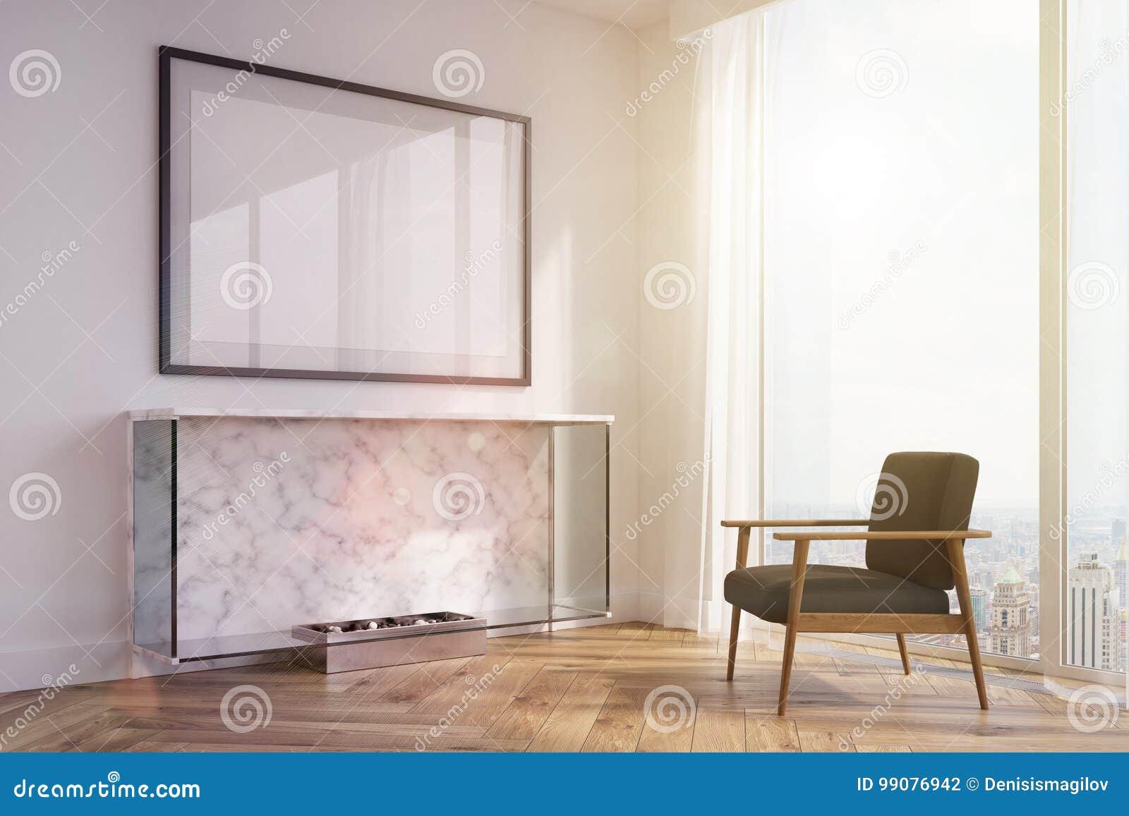Camino Classico Bianco : Salone bianco camino poltrona nera tonificata illustrazione di