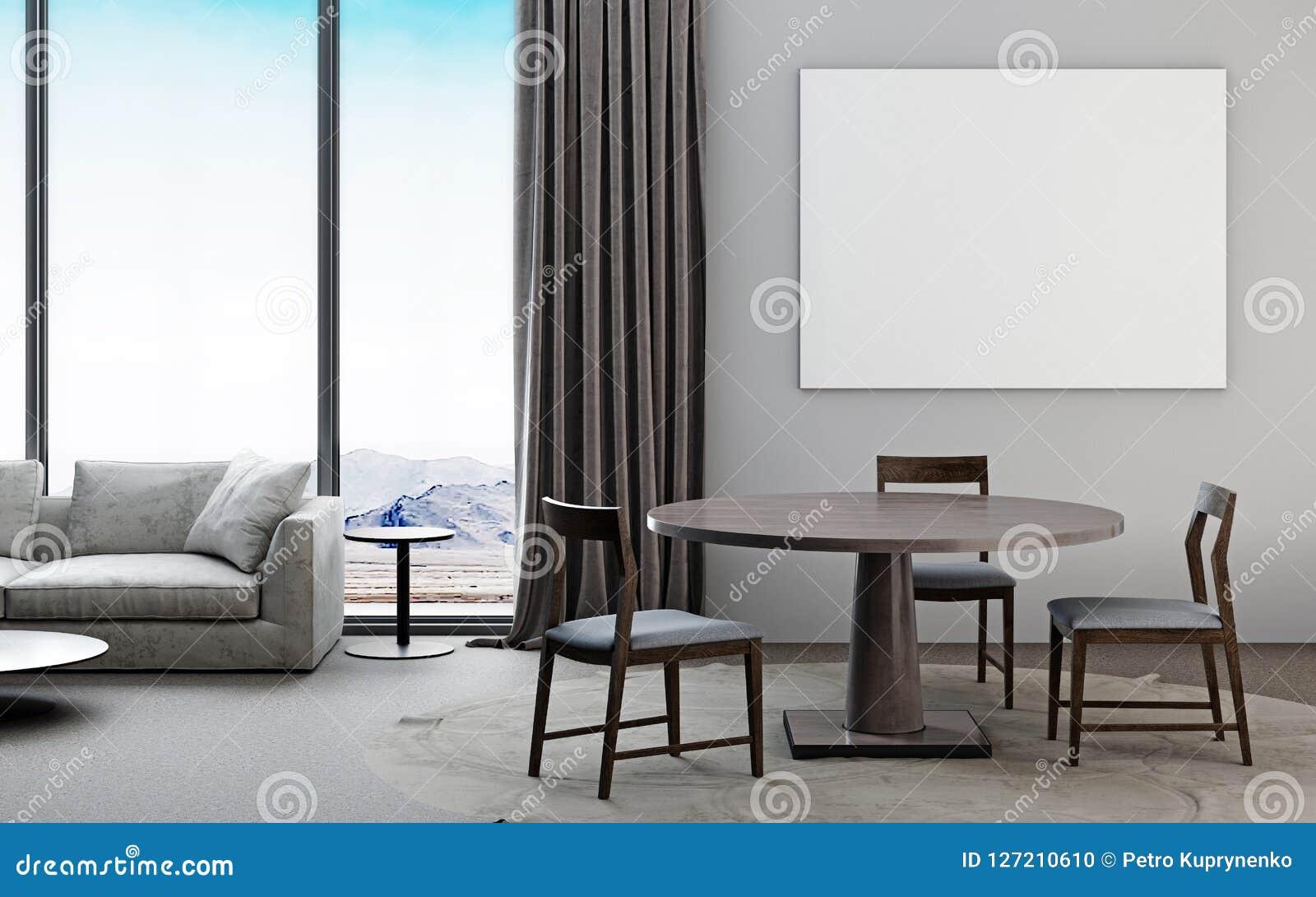 Salone bianco e grigio con il sofà, tavolo da pranzo, posta del modello