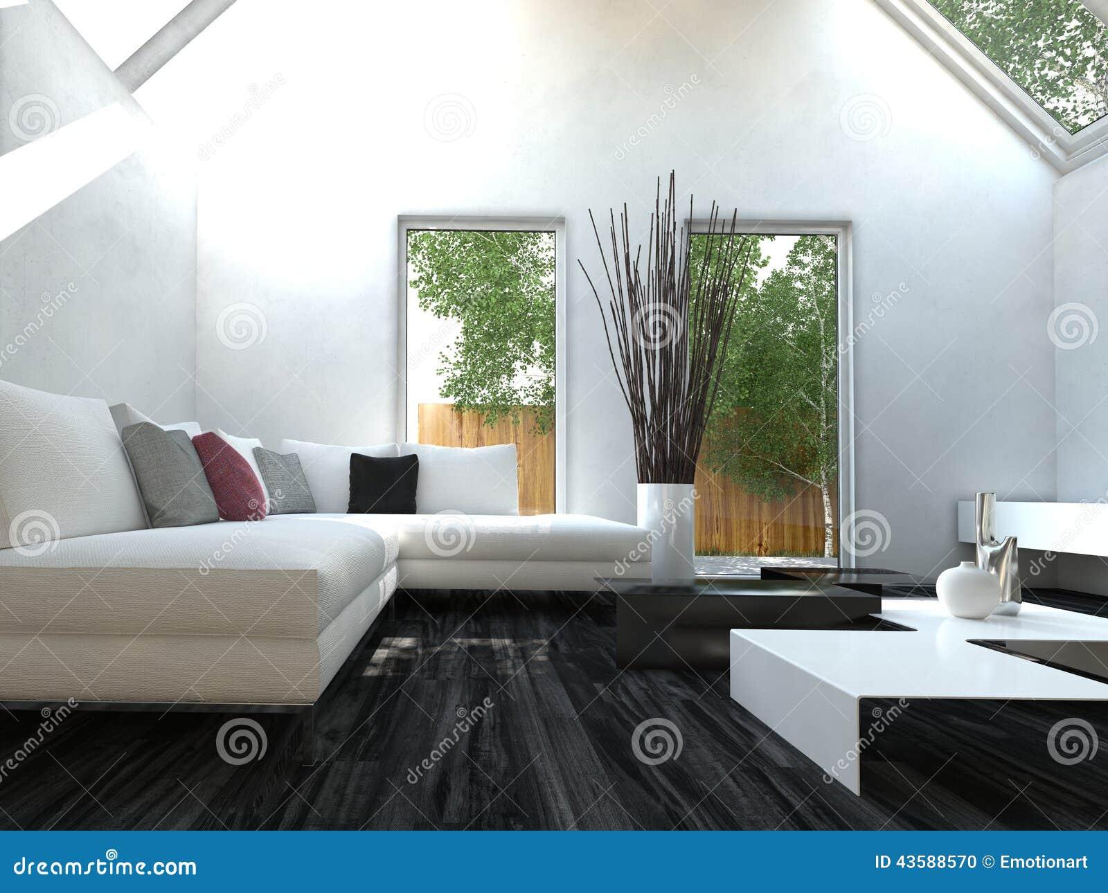 salone in bianco e nero moderno di stile di progettazione