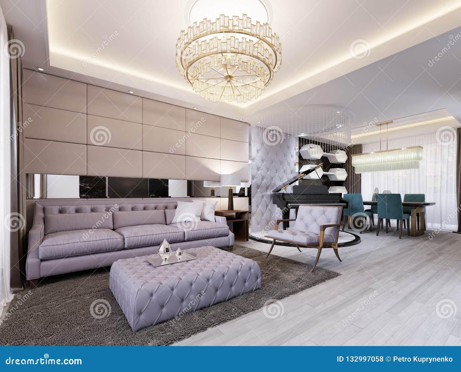 Salone classico moderno con area pranzare di cuoio della parete e dello specchio e con la tavola ed il piano nero sul podio