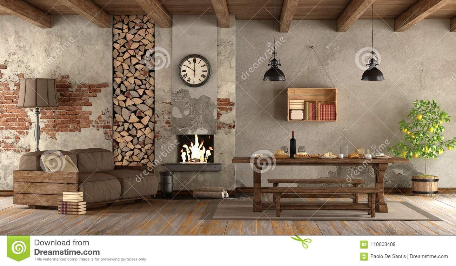 Salone con il camino nello stile rustico illustrazione di for Arredo camino rustico