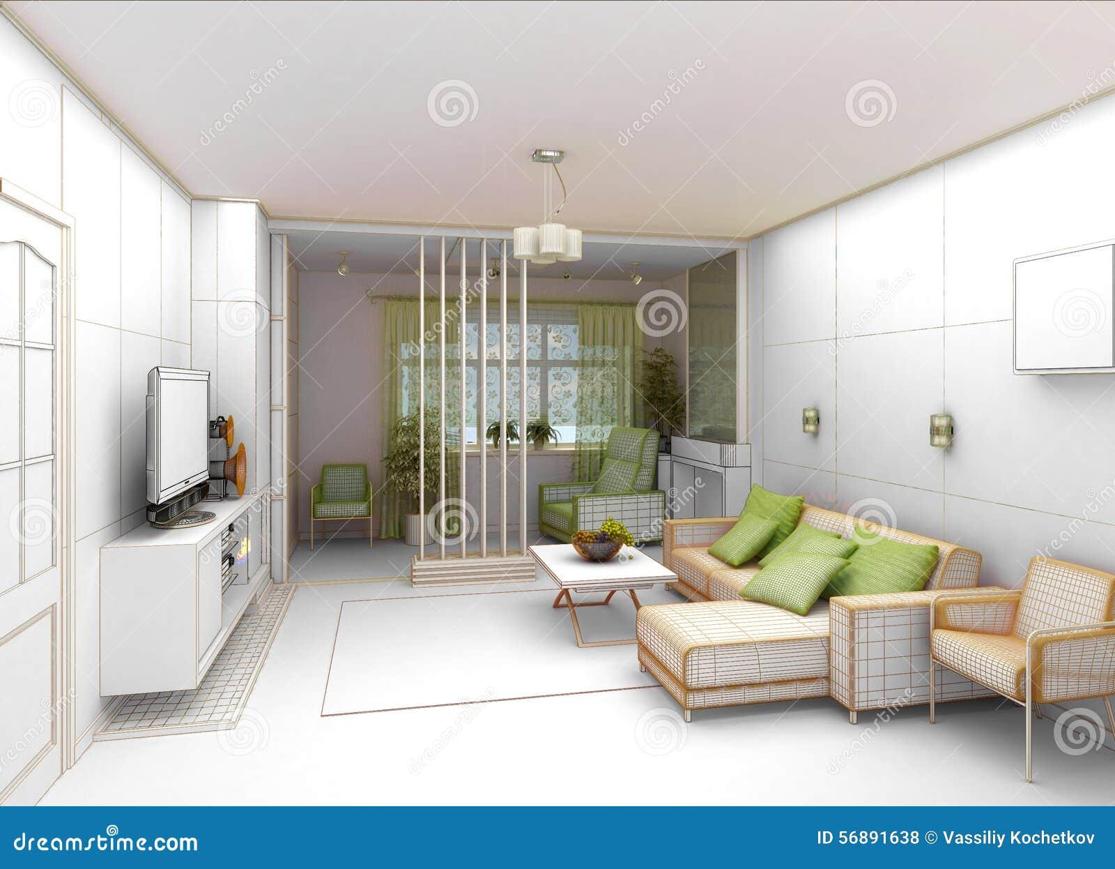 Salone con la vista del paesaggio, interno 3D