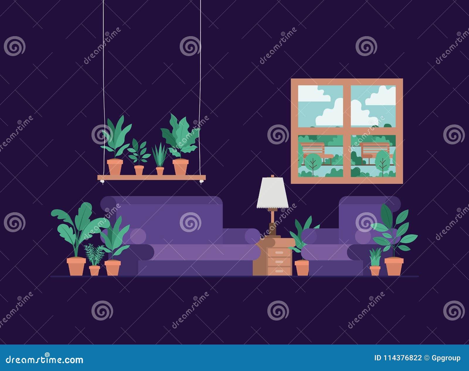 Salone con le piante da appartamento e la lampada illustrazione