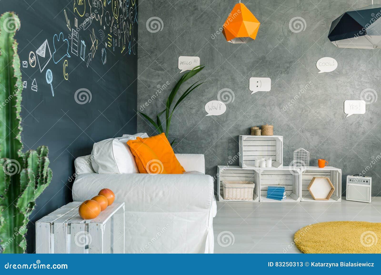 Salone Con Mobilia Bianca Immagine Stock Immagine Di