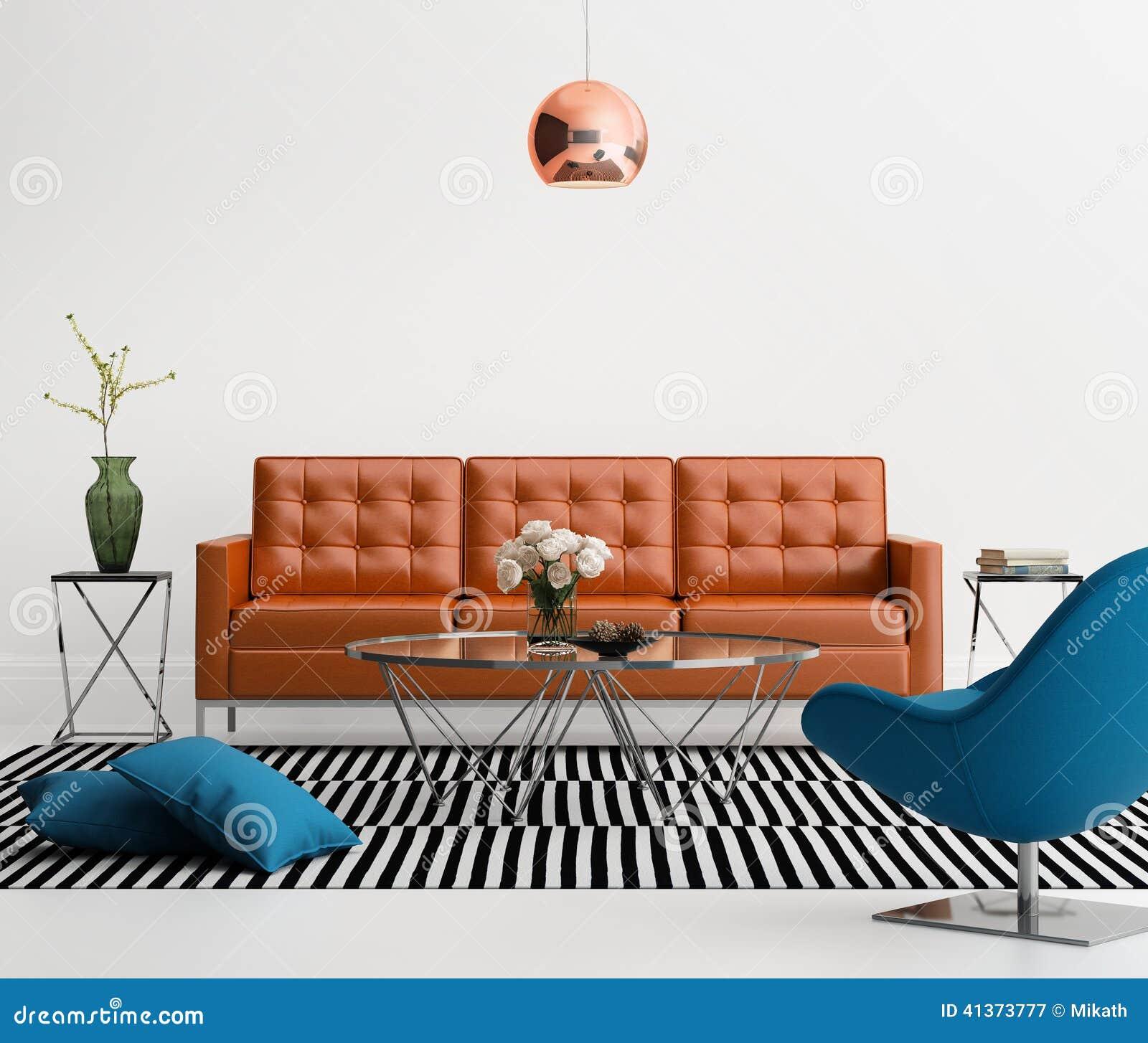 Salone contemporaneo con il sofà di cuoio arancio