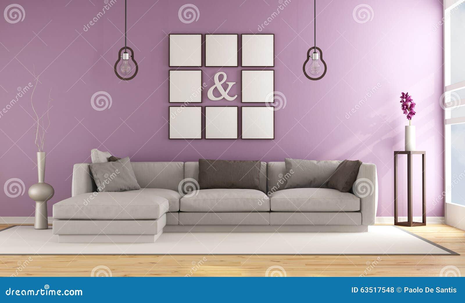 Salone contemporaneo con la parete di lilla illustrazione - Camera da letto lilla ...