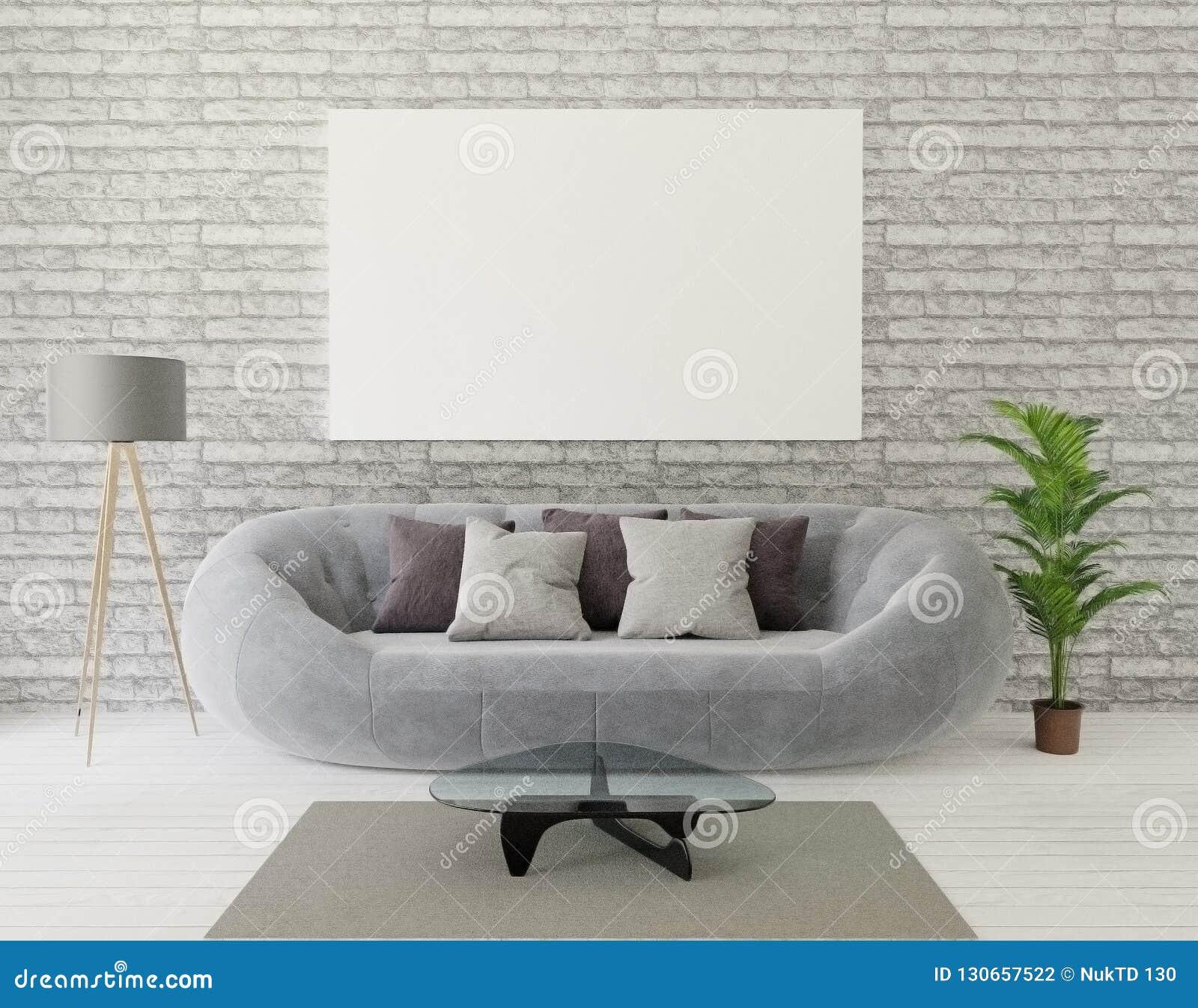 Salone del sottotetto della rappresentazione 3d con il sofà grigio, lampada, albero, muro di mattoni, tappeto, struttura del anf