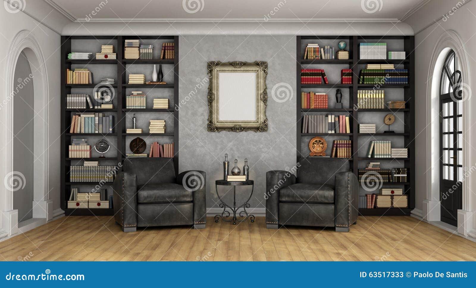 Salone Di Lusso Con Il Grandi Scaffale E Poltrone Illustrazione Di
