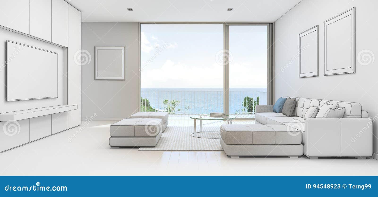 Salone di vista del mare con il terrazzo nella casa di for Disegni della casa sulla spiaggia