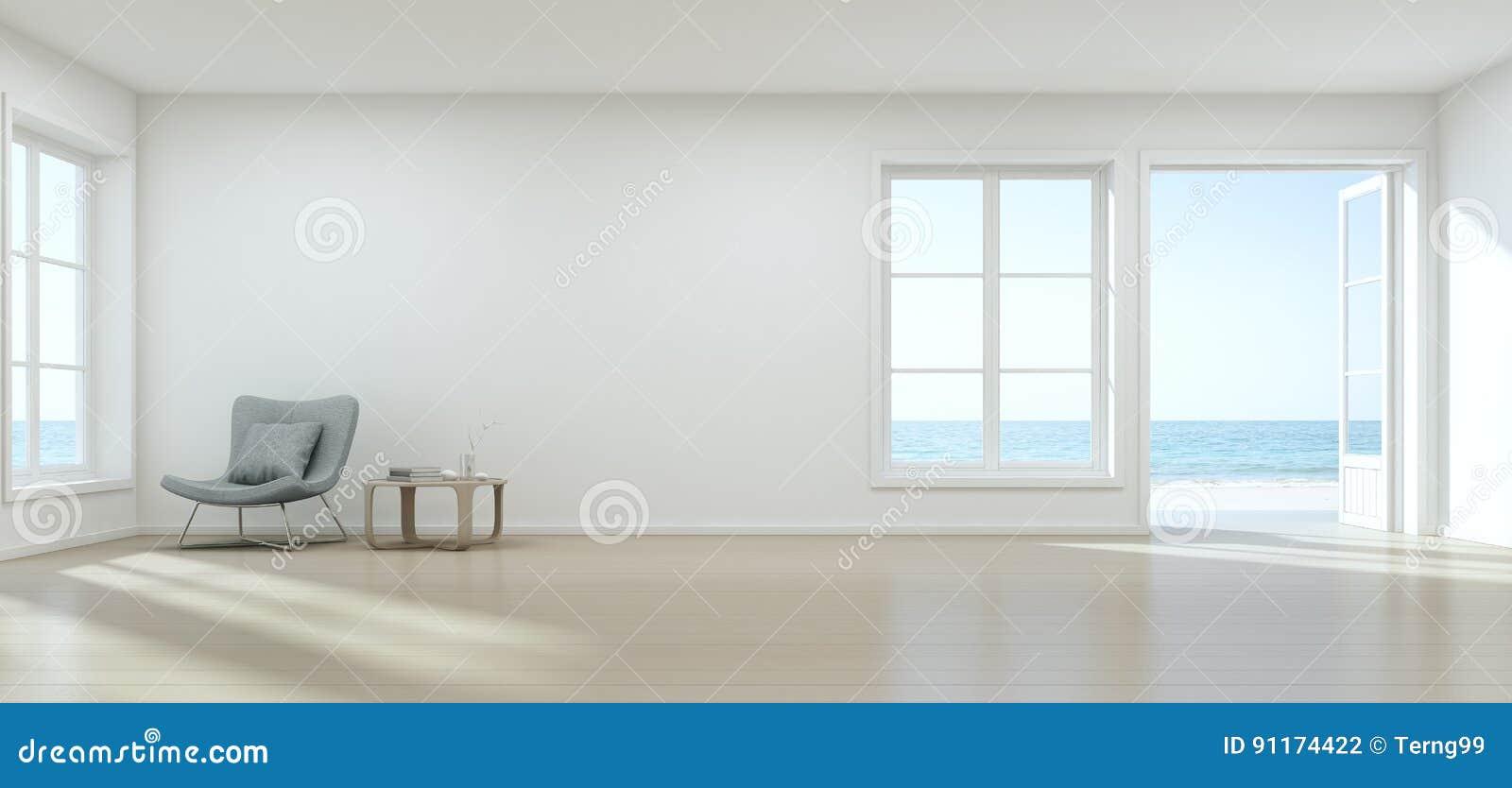 Salone di vista del mare con la parete vuota nella casa di for Salone casa moderna