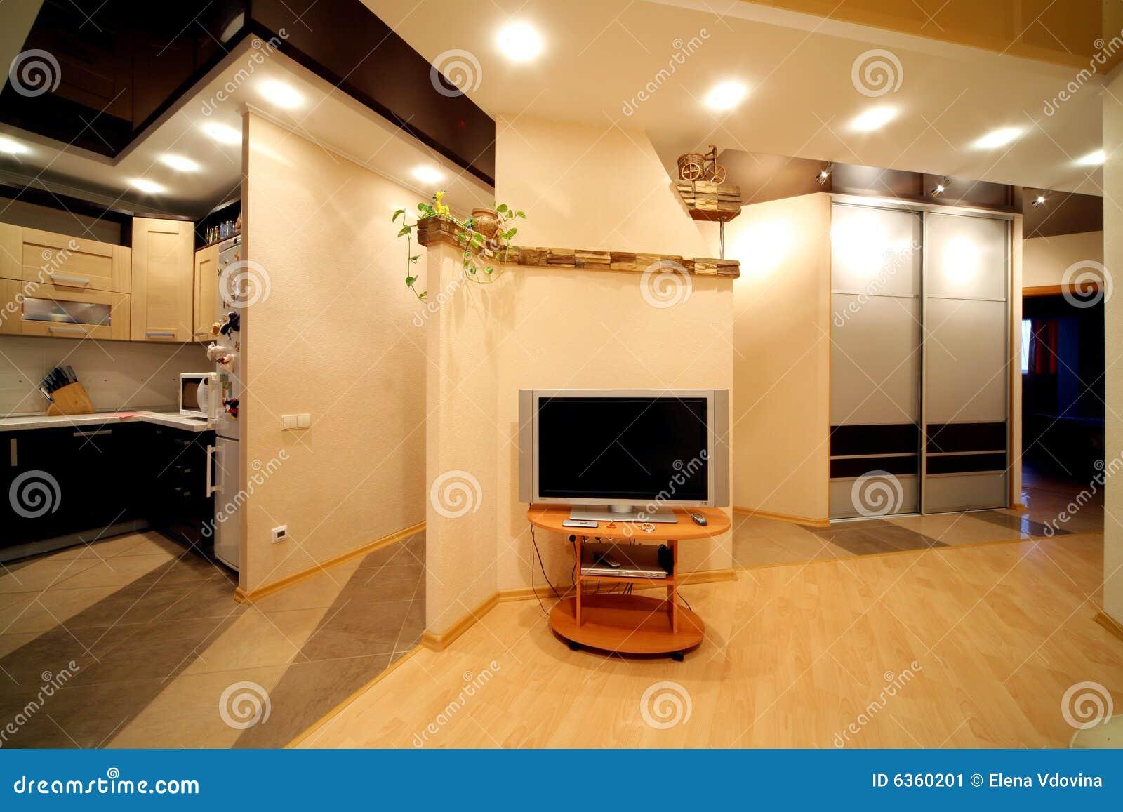 Salone e parte di una cucina immagine stock immagine for Cucina e salone insieme
