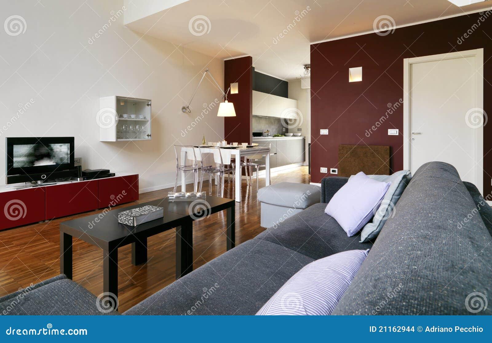 Salone E Sala Da Pranzo Moderni Con Il Pavimento Di Legno E La Parete  #673826 1300 924 Immagini Sala Da Pranzo Da Colorare