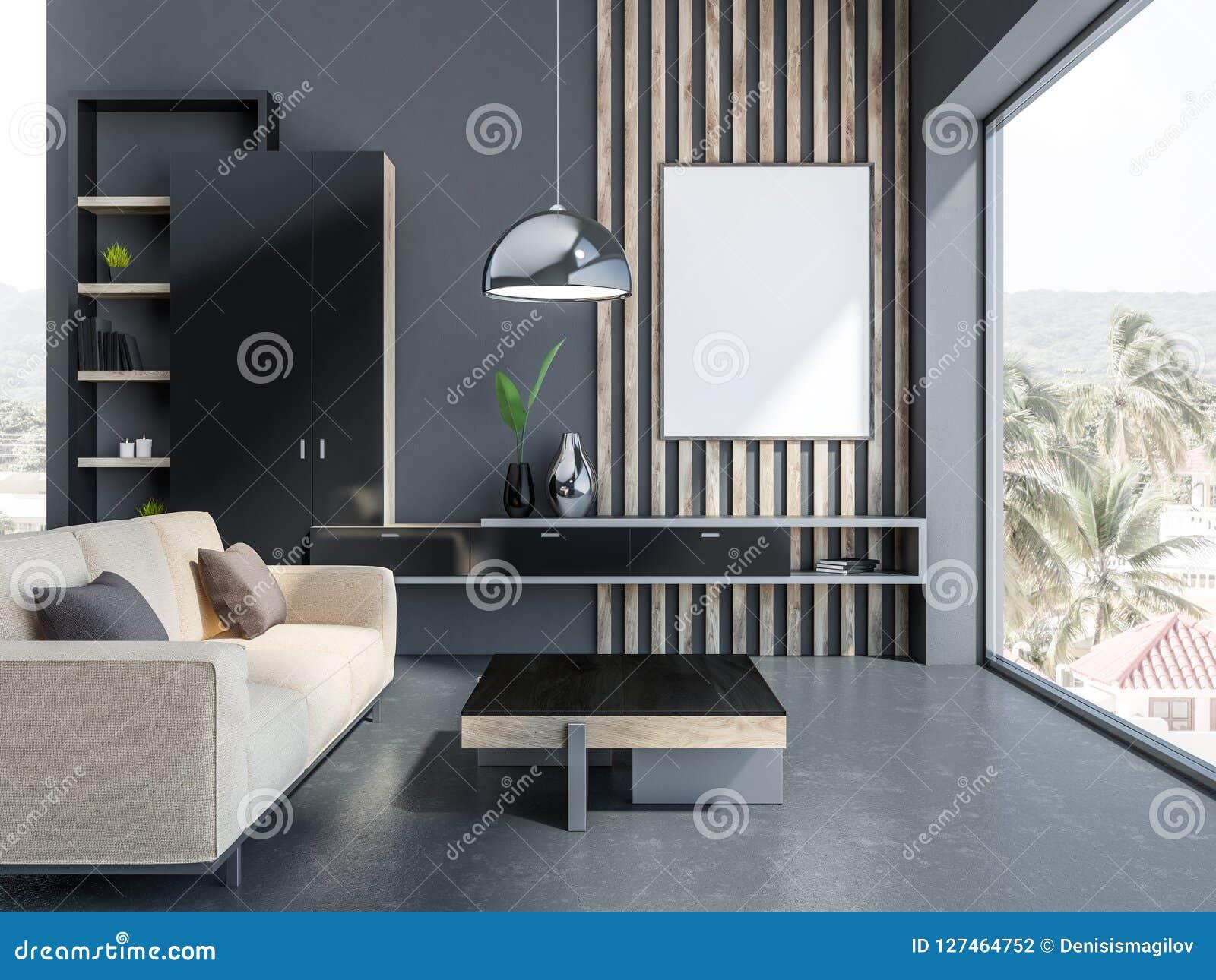 Salone grigio, sofà beige e manifesto