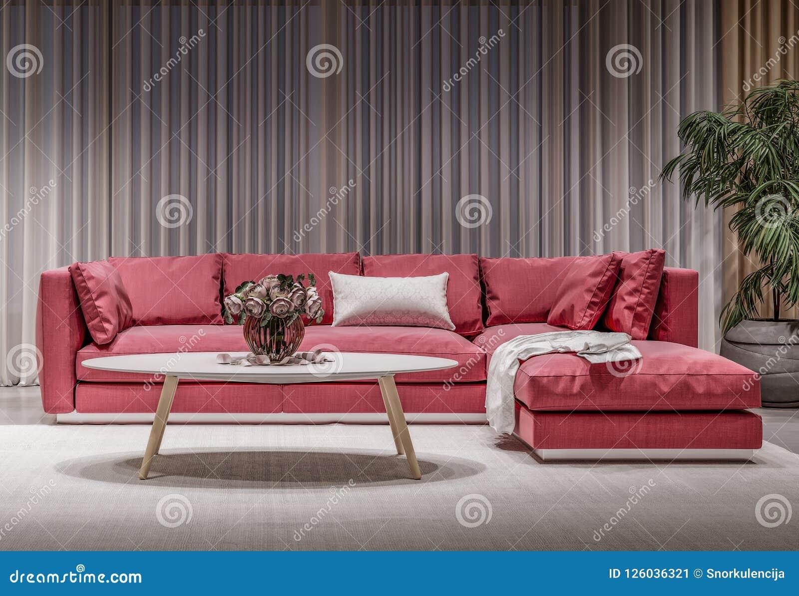 Salone interno di progettazione moderna, sofà rosso
