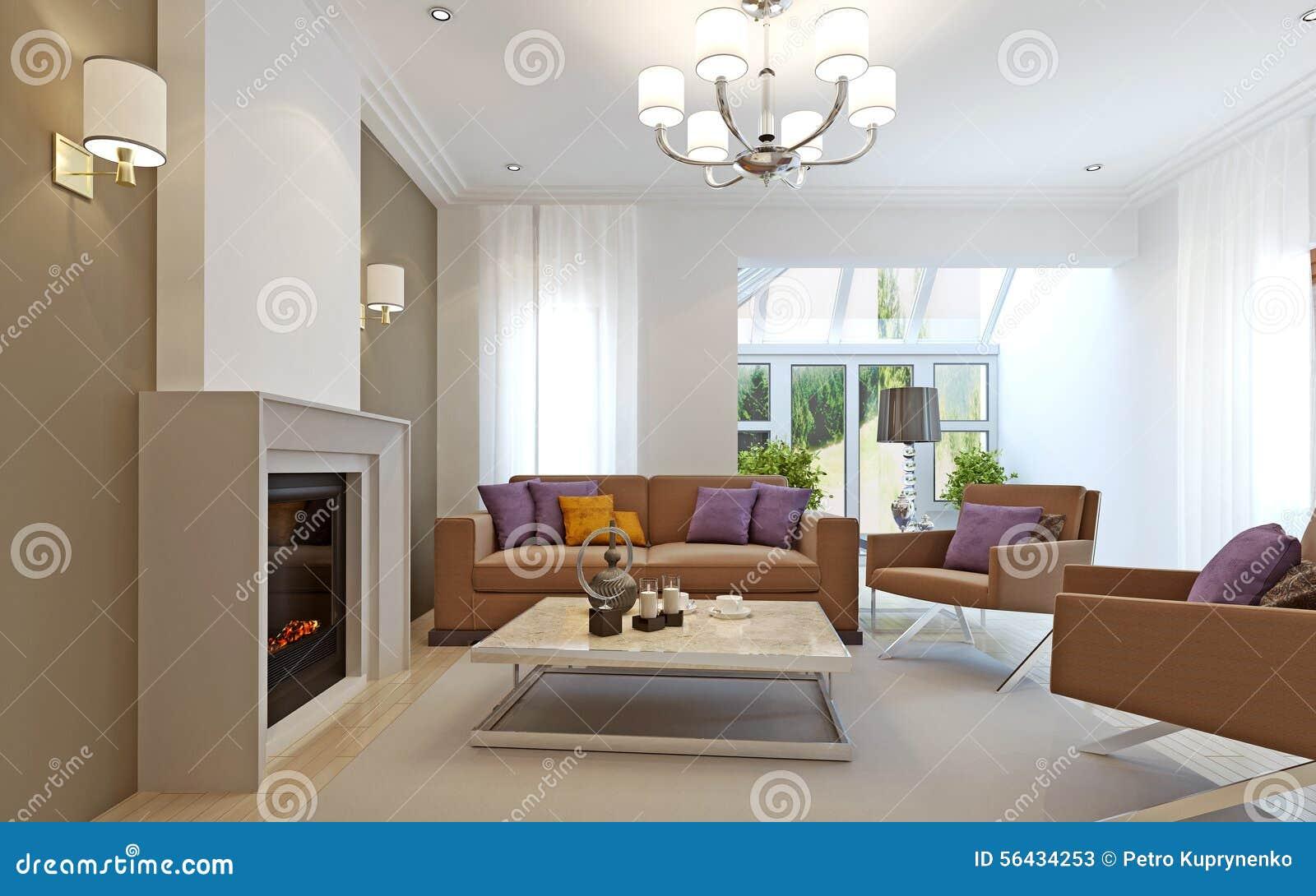 Immagini di riserva di salone moderno con il camino 3d for Arredamento salone con camino
