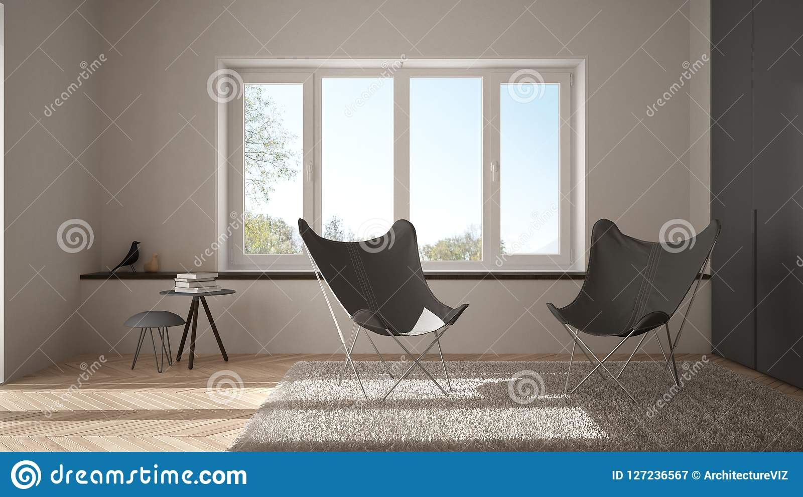 Pavimento Bianco Grigio : Salone minimo bianco e grigio con il tappeto della poltrona il