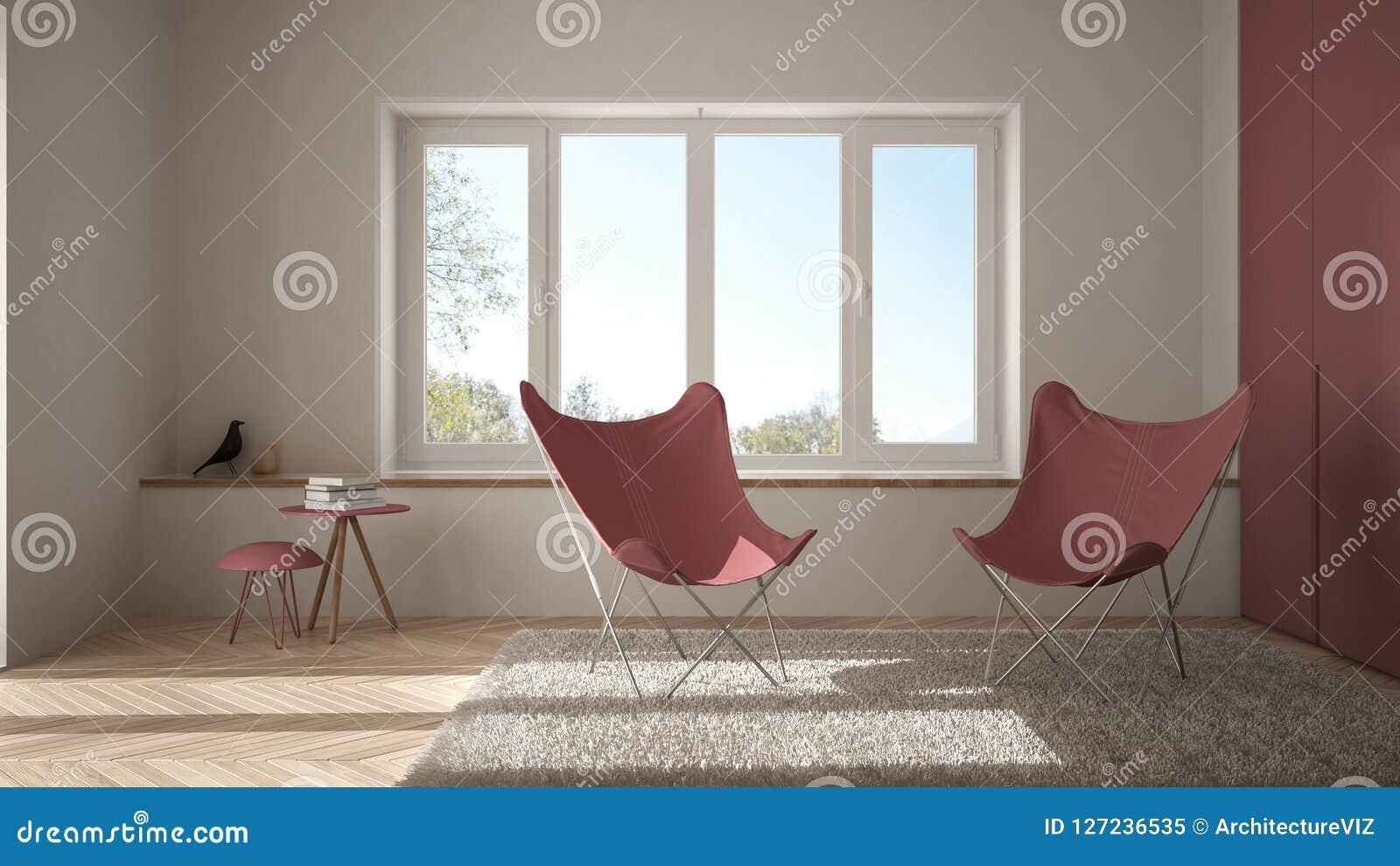 Pavimento Rosso E Bianco : Salone minimo bianco e rosso con il tappeto della poltrona il