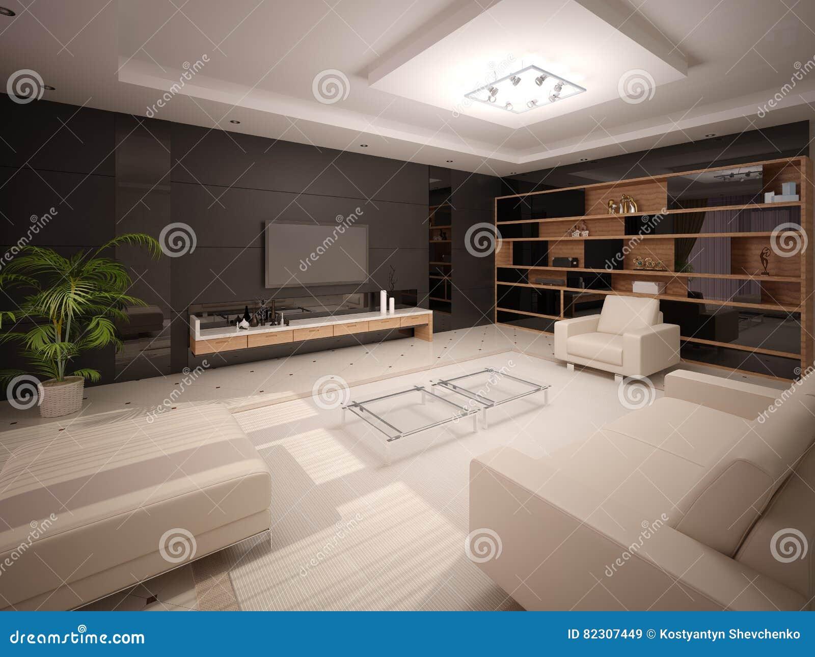 Salone Moderno Con L\'arredamento Alla Moda Illustrazione di Stock ...