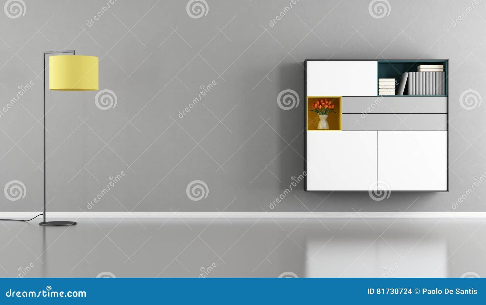 Credenza A Muro Moderna : Salone moderno con la credenza sulla parete illustrazione di stock