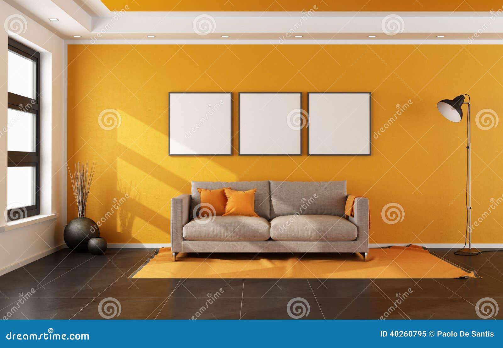 Salone moderno con la parete arancio illustrazione di for Pittura soggiorno moderno