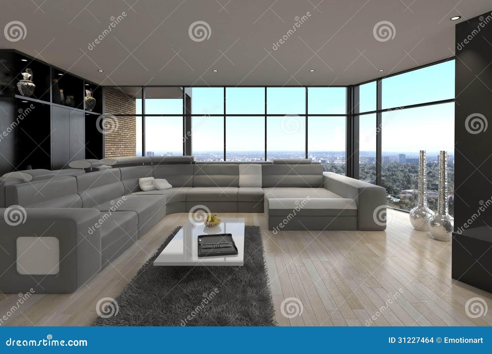salone moderno impressionante del sottotetto interno di. Black Bedroom Furniture Sets. Home Design Ideas