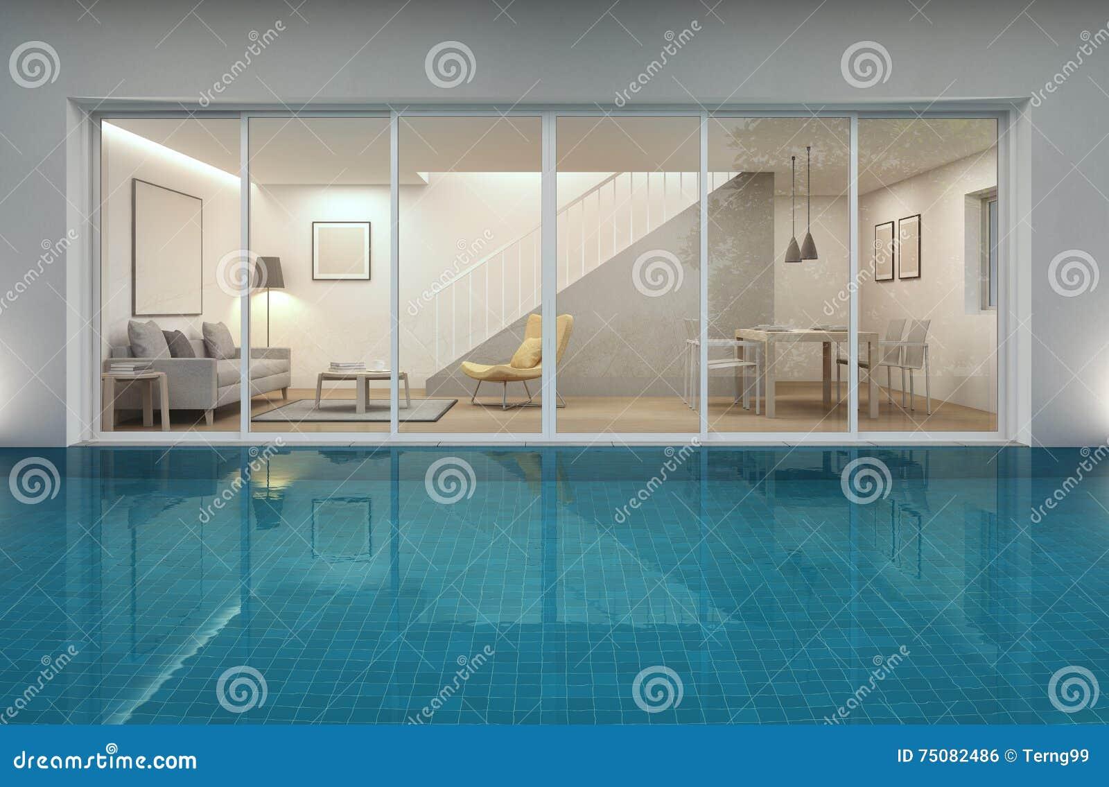Salone sala da pranzo e piscina in casa moderna for Salone casa moderna